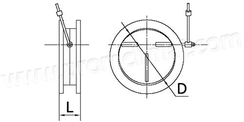 Клапаны обратные круглые дымоудаления сварные из чёрной стали чертеж