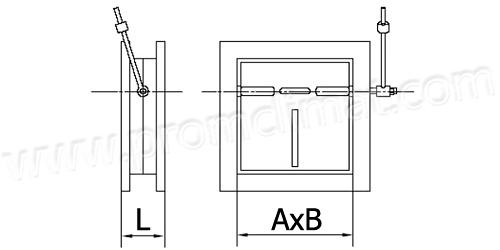 Клапан обратный прямоугольный сварной чертеж