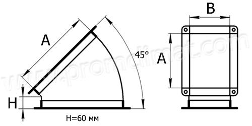 Отвод 45 градусов прямоугольный чертёж