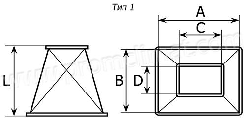 Переход прямоугольный центральный тип 1