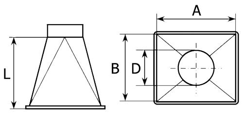 Переход с прямоугольного на круглое сечение тип 1