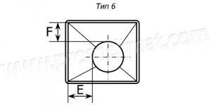 Переход с прямоугольного на круглое сечение тип 6 чертёж