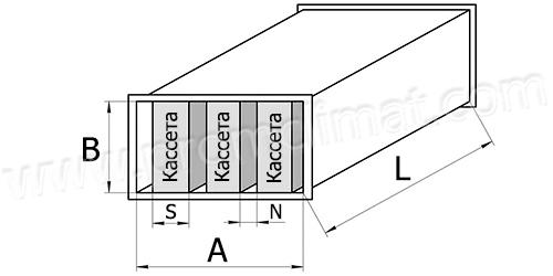 Шумоглушитель-пластинчатый прямоугольный чертёж