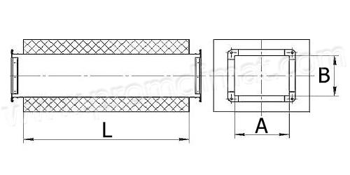 Шумоглушитель трубчатый прямоугольный ГТП чертёж