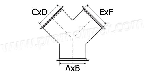 Тройник штаны прямоугольный чертёж