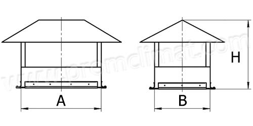Зонт крышный прямоугольный чертёж